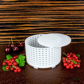 Форма для сыра d120x60mm, цилиндрическая перфорированная, с диском