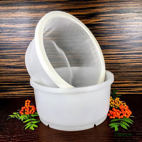Форма для сыра на 5000г, цилиндрическая, с сетчатой вставкой, с поршнем под пресс