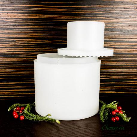 Форма для сыра на 2200г, цилиндрическая, с вкладышем, с поршнем, Махореро (Majorero)