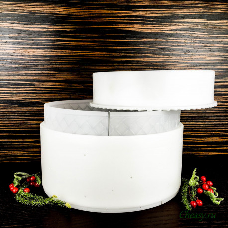 Форма для сыра на 4000г, цилиндрическая, с вкладышем, с поршнем, Пальмеро (Palmero)