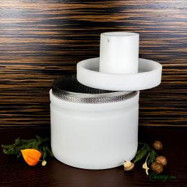 Форма для сыра до 5000г, цилиндрическая, с поршнем под пресс и перфовставкой, Манчего