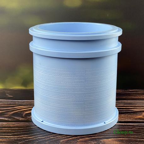 Форма для сыра на 2000г, микроперфорация, цилиндр, с поршнем под пресс, насечка - Манчего